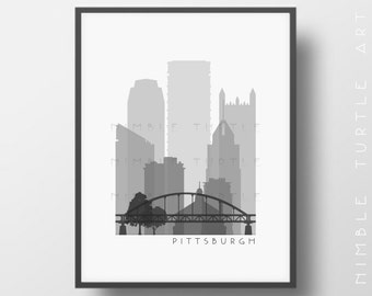 Pittsburgh Skyline Printable Download  -  Black and White  -  Grayscale - Pittsburgh Pennsylvania Gallery Wall Art