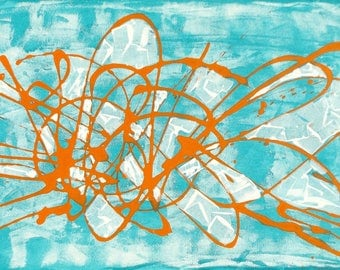 Original Abstract Acrylic Modern Art Painting Picture on Stretched Canvas 45x90cm Sapphire Blue Orange White