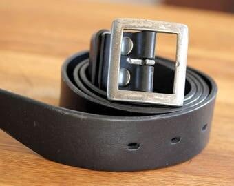 Vintage Men's Black Leather Belt, Black Leather Belt, Leather belt with metal buckle
