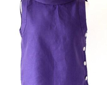 HOBBS Flax Linen Purple Top, Puprle Blouse, Flax Linen Mauve Top,  Ladies Mauve Top, Mauve shirt UK Size 10