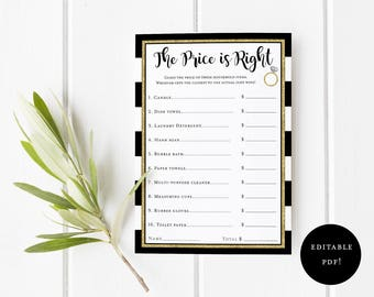 The Price is Right Bridal Shower Game - Printable PDF Editable Adobe Reader Template - Black Gold Party Game -  Party Guessing Game - 0002-T