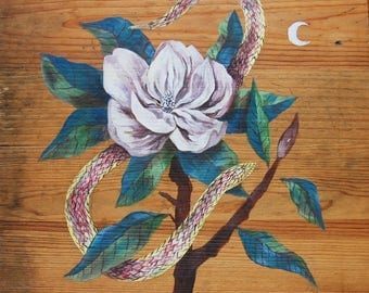 Sugar Magnolia Snake Painted on reclaimed wood