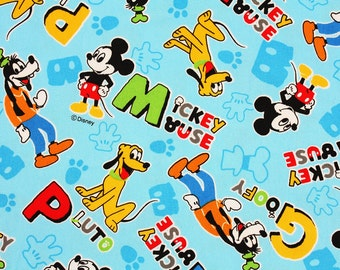 "Disney Mickey Mouse Goofy Pluto Character Oxford Fabric made in Japan FQ 45cm by 53cm or 18"" by 21"""