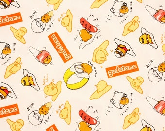 "Gudetama Lazy Egg Sanrio Character Fabric made in Japan FQ 45cm by 53cm or 18"" by 21"""