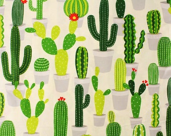 """Cactus patterned Silket Cotton Fabric made in Korea 45cm X 160cm or 18"""" X 63"""" by the Half Yard"""