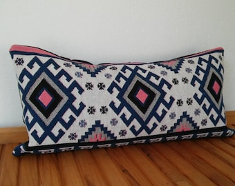 Turkish kilim pillow cover, 60x30cm, geometric, bohostyle, aztec pattern, ethnic pillow, handmade, bohemianstyle
