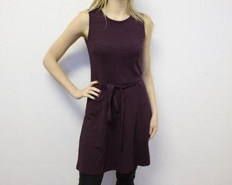 Sleeveles Jumper Dress Smock NANSO Jumper dress Maroon Sleeveless Dress  Violet Sarafan Vintage Fit Overalls  Medium
