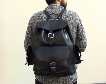 Leather Backpack, Black Leather Bag, Leather Rucksack, Laptop Bag Made in Greece. EXTRA LARGE.