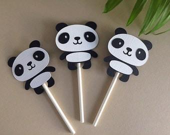 Set of 12 Panda cupcake toppers- panda theme toppers - panda Birthday