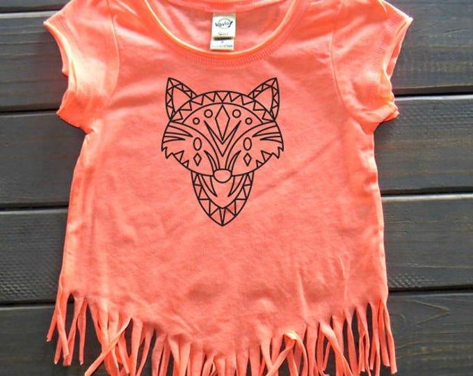 Boho Fox Shirt, Girls' Fringe Top, Girls' Summer Shirt, Boho Girl, Gifts For Girls