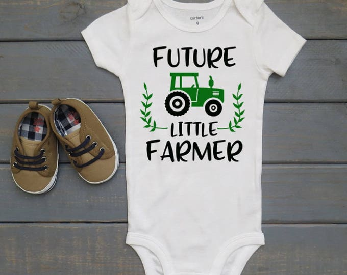 Future Little Farmer, Newborn Bodysuit, Bring Home Outfit, Farm Baby, Baby Shower Gift