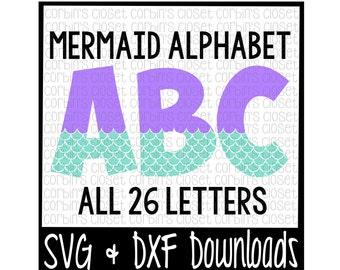 Mermaid Alphabet * Mermaid Pattern Cut File - SVG & DXF Files - Silhouette Cameo, Cricut