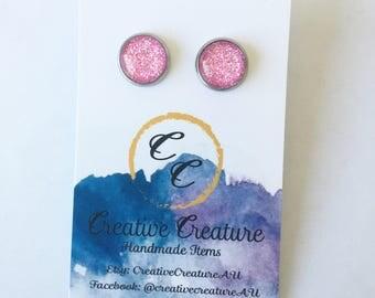 Light Pink glitter stud earrings