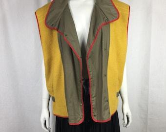 Vtg 80s avant garde Mondi colorblock japanese design khaki vest jacket coat cape oversize designer