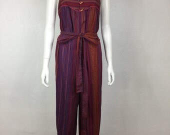 vtg 70s striped cotton wide leg palazzo boho hippie jumpsuit romper