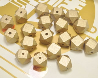 Faceted Geometric Wood Beads,20pcs Hand Painted beads,20mm Gold wooden bead ,Geometric wooden beads for necklace/bracelet Jewelry