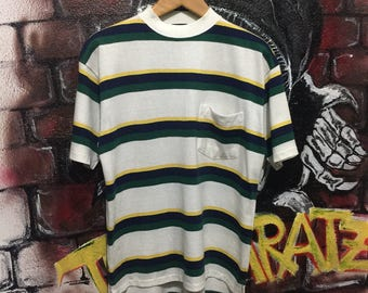Vintage Retro Stripes Pocket Tshirt
