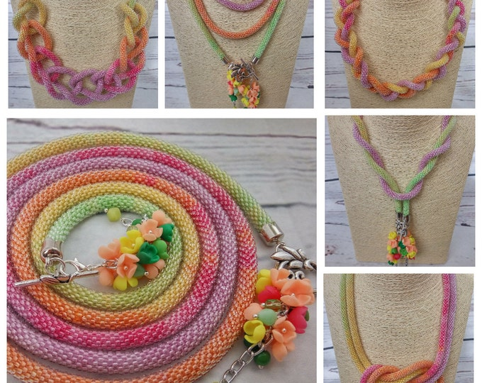 Multicolor green pink yellow long lariat necklace transformer multifunctional statement casual office gift for her fashion crochet rope