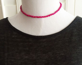 Fuchsia beaded choker, boho necklace, beaded necklace, magenta choker, gift for her, seed beads, colorful beaded necklace, delicate choker