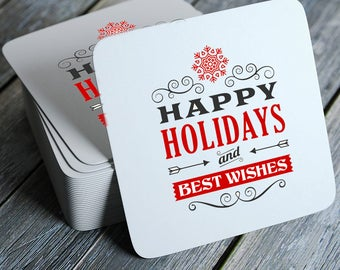 Vintage Happy Holidays and Best Wishes Coasters Set of 4