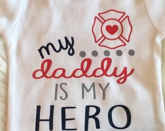 Toddler girl boy my daddy is my hero fireman firefighter bodysuit onesie tshirt shirt