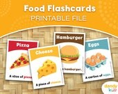 Food Flashcards / Printable Flashcards / Set of 14 / Educational Flashcards