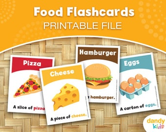 Food Flashcards / Printable Flashcards / Set of 12 / Educational Flashcards