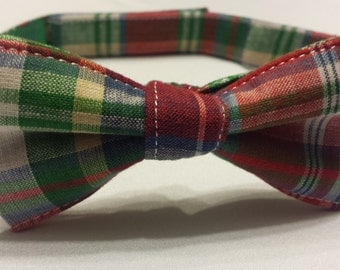 Boys Multicolored Plaid Bowtie