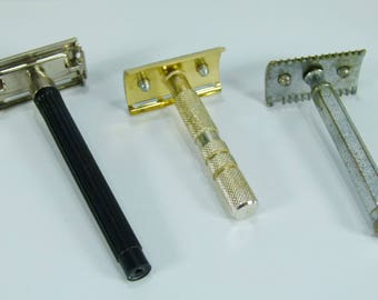 Lot of three vintage safety razor
