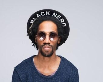 Black Nerd Boater Hat