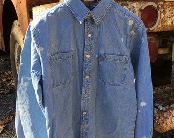 Vintage Levis Denim Work Shirt Men's Large Distressed Work Shirt Classic Retrowear Collectable Levis Work Wear