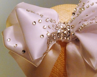 White Satin Bow with Swarovski Crystals
