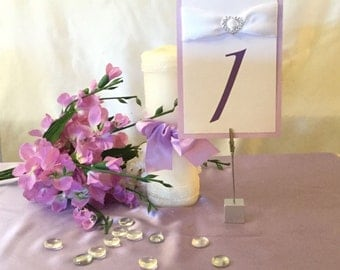 Lavender & White Table Numbers (Choose Your Quantity)