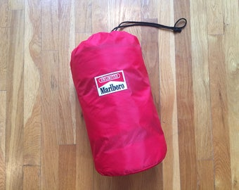 Vintage Marlboro sleeping bag red flannel lined camping camp cigarette marlboro unlimited