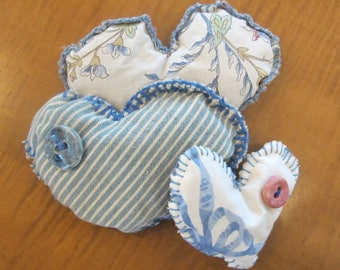Sweet Heart Shape Sachet Pillows filled with Pure Lavender/These are unique and handmade/Buttons are handmade in Tasmania Australia