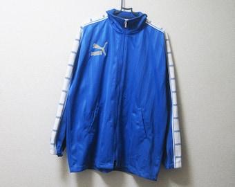 VINTAGE PUMA Athletic Sporty Blue Gold Logo Tracksuit Top / Track Jacket - Size M