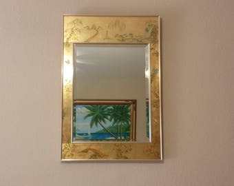 Labarge Chinoiserie Eglomise Reverse Painted Gold Leaf Mirror (signed)