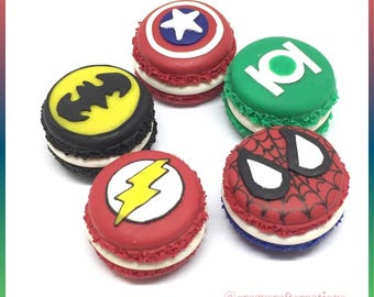 Justice League superhero polymer clay macaron charm