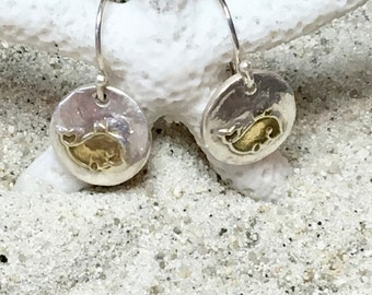 Sterling and Fine Silver 22K Gold Plated Whale Coin Earrings