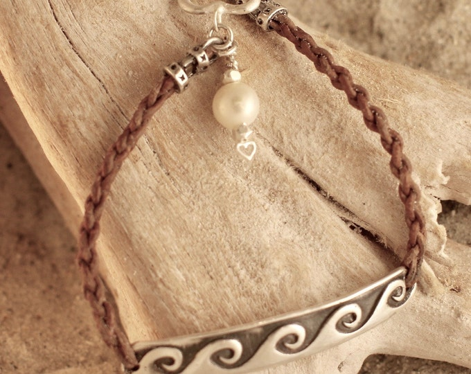 Braided Leather with Fine Silver Bar Antiqued Wave Bracelet with Heart Toggle and Pearl Charm 7""