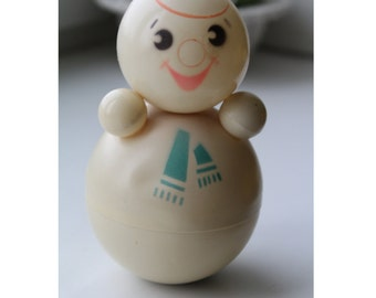 RARE! Soviet musical snowman roly-poly . Nevalyashka.  snowman. Vintage Celluloid. Tilting doll USSR. tilting doll. Soviet toy
