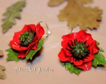 Red Poppy Earrings Polymer clay poppy Handmade Jewelry Gift for women.