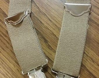 Beige Men's Suspenders Khaki tan sand color adult suspenders