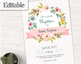 INSTANT DOWNLOAD, Editable LDS Baptism Invitation Girl, Girl Invitation pink watercolor, Baptism Invite, No Photo Needed
