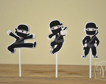Ninja Theme Birthday Party Cupcake Toppers - Ninja Birthday - Ninja Party - Ninja Decorations - Ninja Cupcake Topper