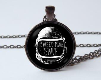 Astronaut necklace Astronaut helmet Spaceman necklace Astronaut jewelry Scaphander pendant I need more space Astronaut gift Space pendant