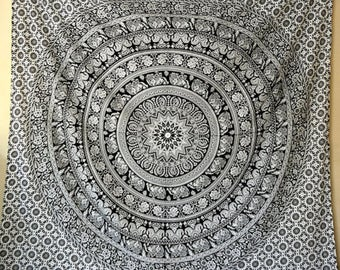 Black & white mandala tapestry, boho decor, boho bedroom, wall hanging, 100% cotton