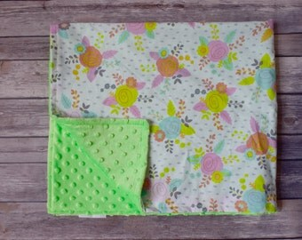 Floral Baby Girl Blanket, Toddler Girl Blanket, Stroller Blanket, Newborn Blanket, Minky Baby Blanket, Baby Shower Gift, New Baby Gift