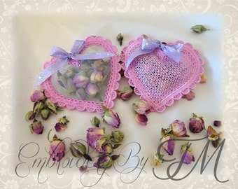 Hearts on soaps or dried flowers/two variants - embroidery on organza or lace/ 4x4 hoop/