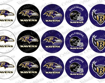 "Baltimore Ravens Bottlecap Images, 1"" Circle Images, 4x6 Collage Sheet, Football Images, Digital Collage Sheet, Cupcake Toppers"